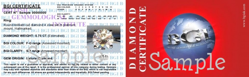 BGI Diamond Card Certificate