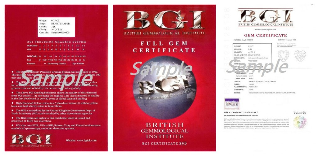 BGI Full Diamond Certificate